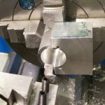 Boring rear cavity main block of Mills 1.3cc diesel engine