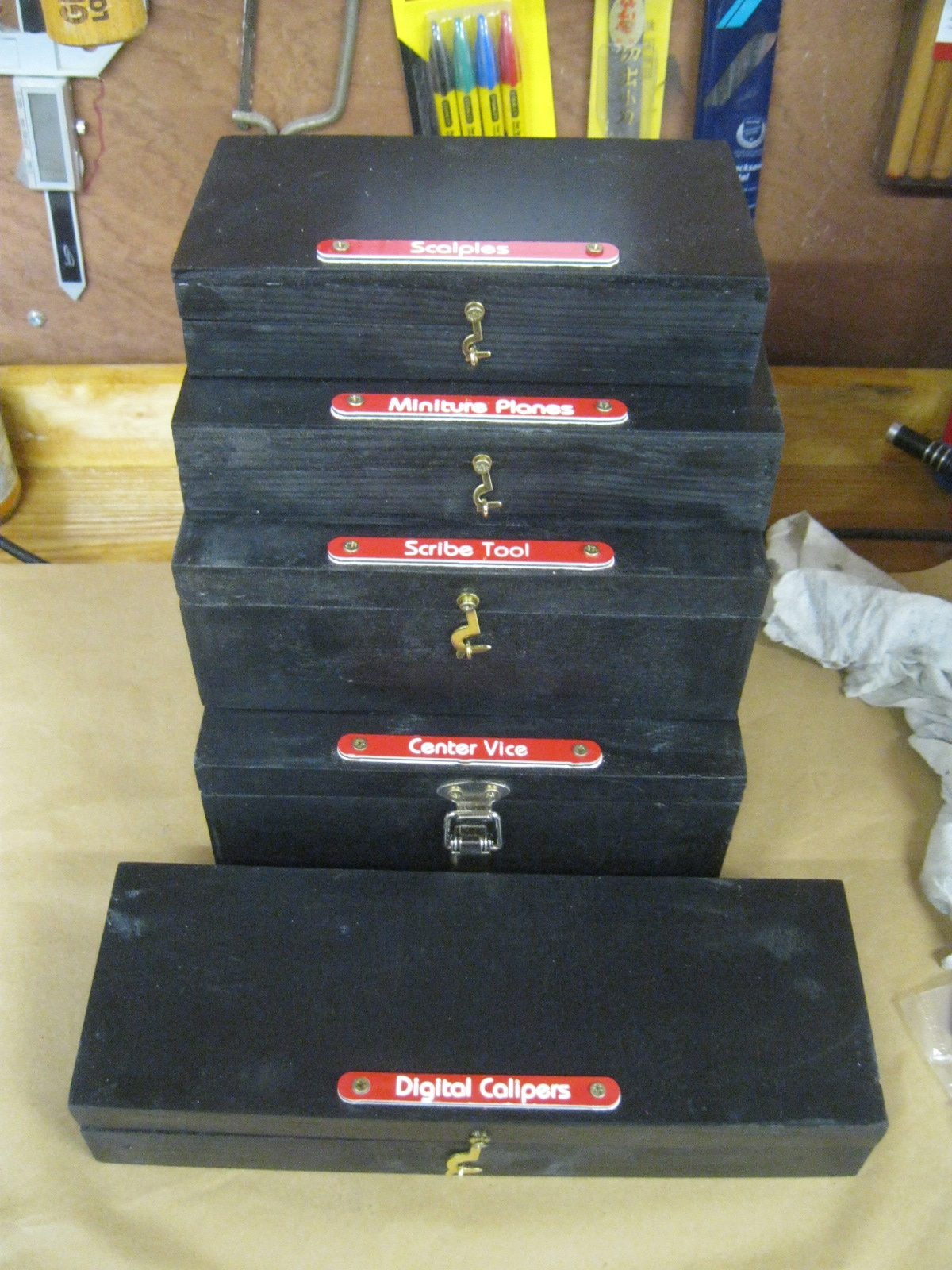 Home made boxes with Shadowfoam inside to store tooling.