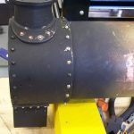 """Riveting the smoke box on the 2"""" scale Fowler Traction Engine"""