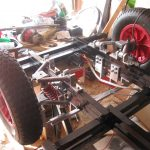 Detail of the front double wishbone suspension.